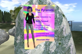 """Betty Tureaud and Xue Faith at Tureaud's light and sound installation """"The Pyramids"""""""