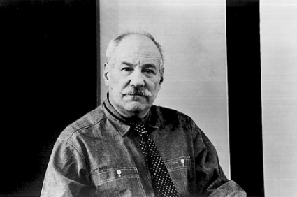 Black and white photograph of Barnett Newman