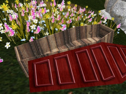 "Promotional image from the Gallery Xue call for entries for the art installation ""Earthly Remains"" Images show views of the empty coffin that participants can decorate as they'd like their ""last hotel room"" to be outfitted."