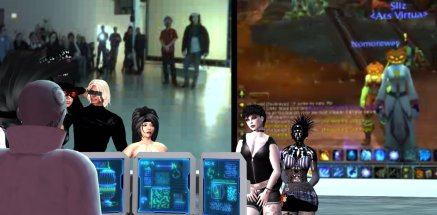Documentary images from Liz Solo's mixed reality performance Take Me featuring 3 simultaneous ritual performances at Open Space in Vancouver, BC, Canada, the Demon Soul server on World of Warcraft, and the Odyssey Performance simulator in Second Life.