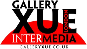 "Gallery Xue / Taipei logo featuring the text ""Gallery Xue Intermedia Taipei"" in bold type (Lance Hidy's 1994 Adobe Original typeface Penumbra) black and white lettering against the top of a red circle"