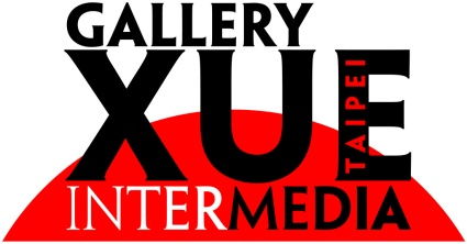 """Gallery Xue / Taipei logo featuring the text """"Gallery Xue Intermedia Taipei"""" in bold type (Lance Hidy's 1994 Adobe Original typeface Penumbra) black and white lettering against the top of a red circle"""